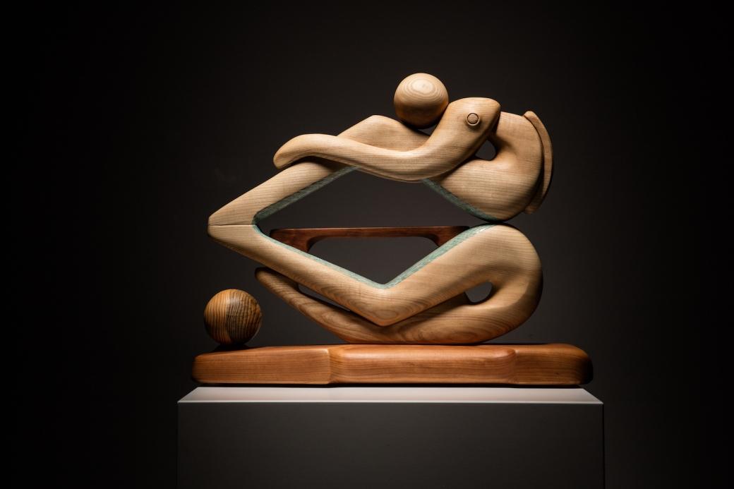 sanderson figurative sculpture in ash, pine and cherry