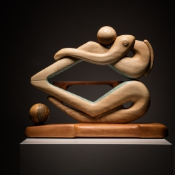 sanderson figurative sculpture in ash, pine and cherry