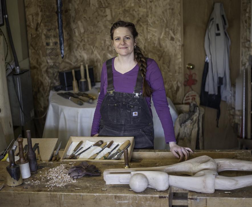 Sanderson in her Alberta studio with a work in progress