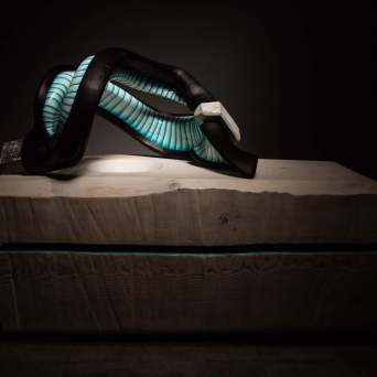 sanderson Biome abstract sculpture black with blue and white stripes