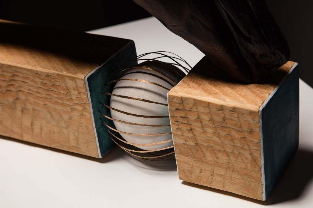 sanderson Compulsion, abstract sculpture detail in cedar and hammered bronze wire