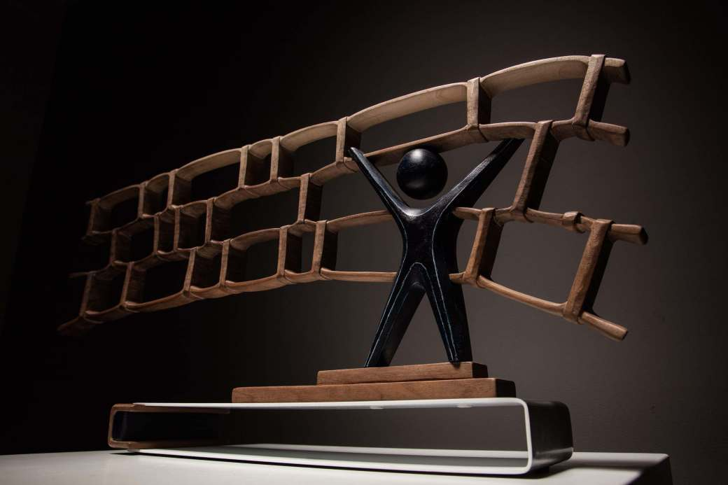 sanderson Hard Wired sculpture in butternut and metal