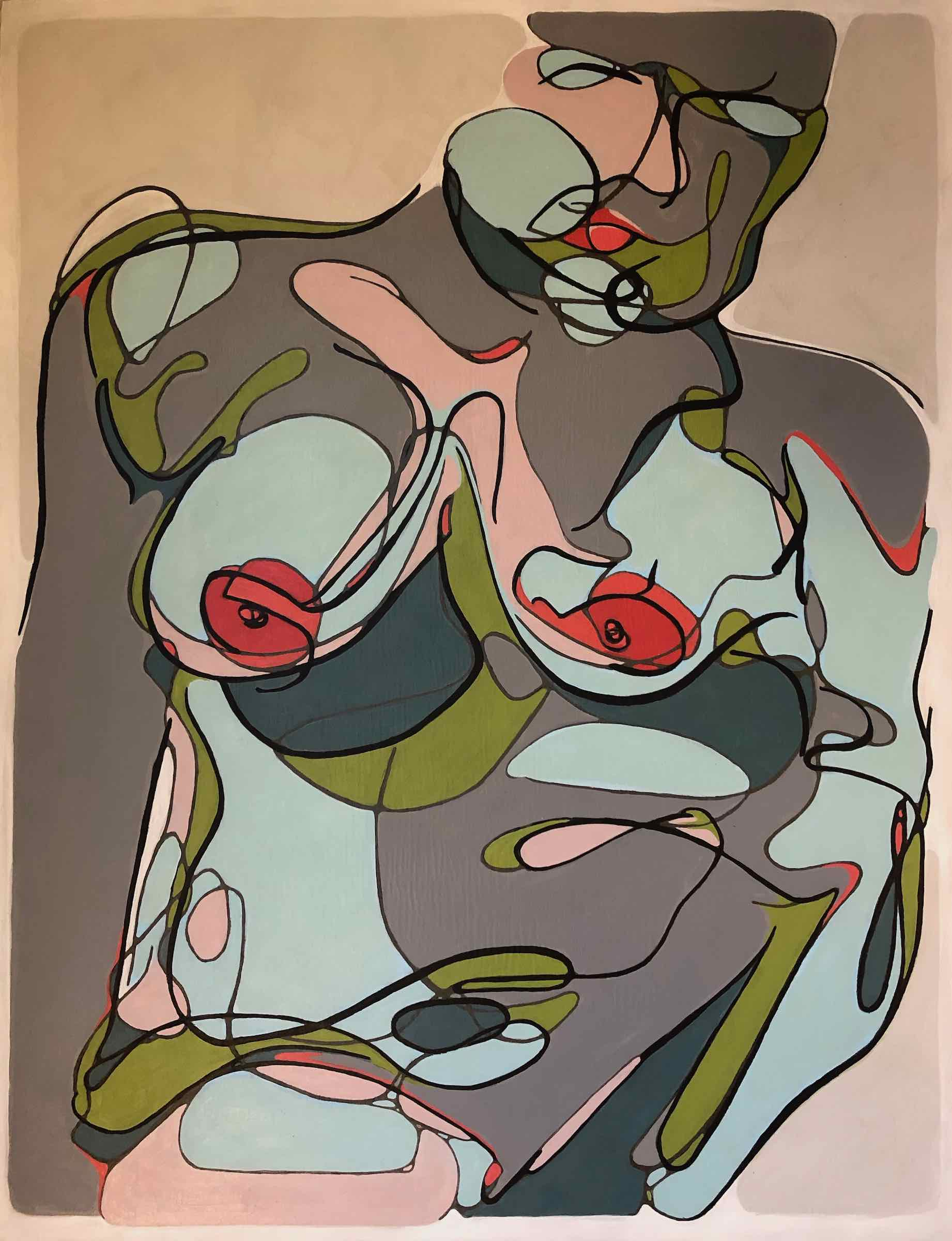 sanderson acrylic painting frontal nude Rouged