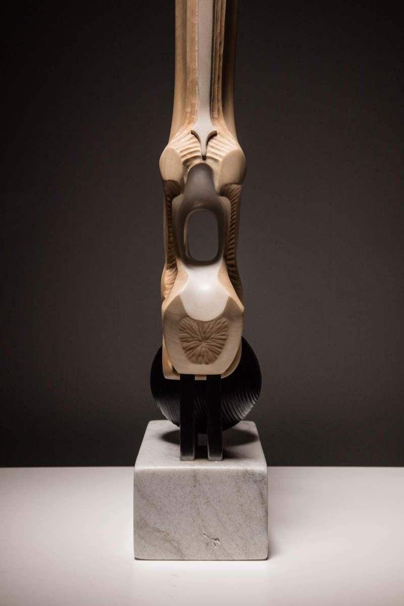 sanderson Torso abstract figurative sculpture in basswood, cedar, padauk and marble