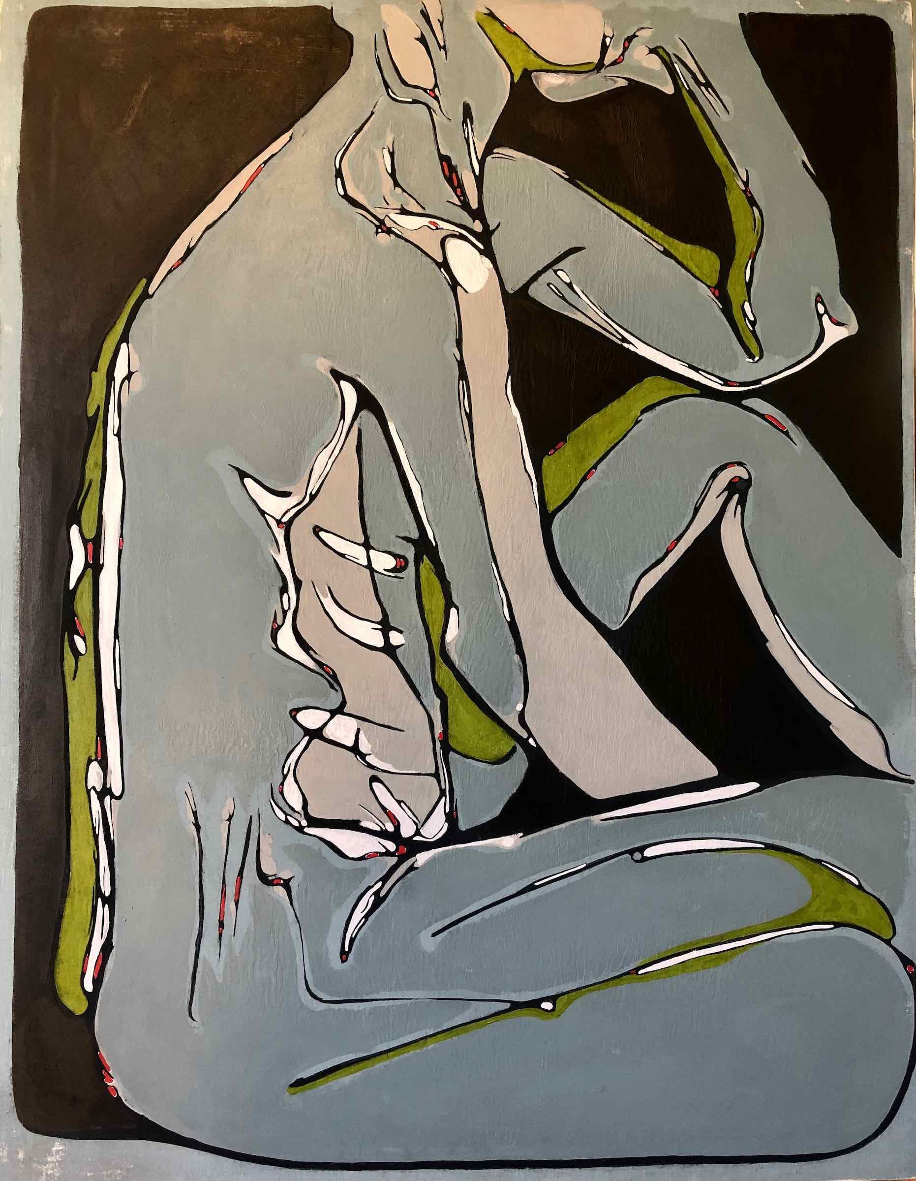 sanderson acrylic painting seated nude Verte