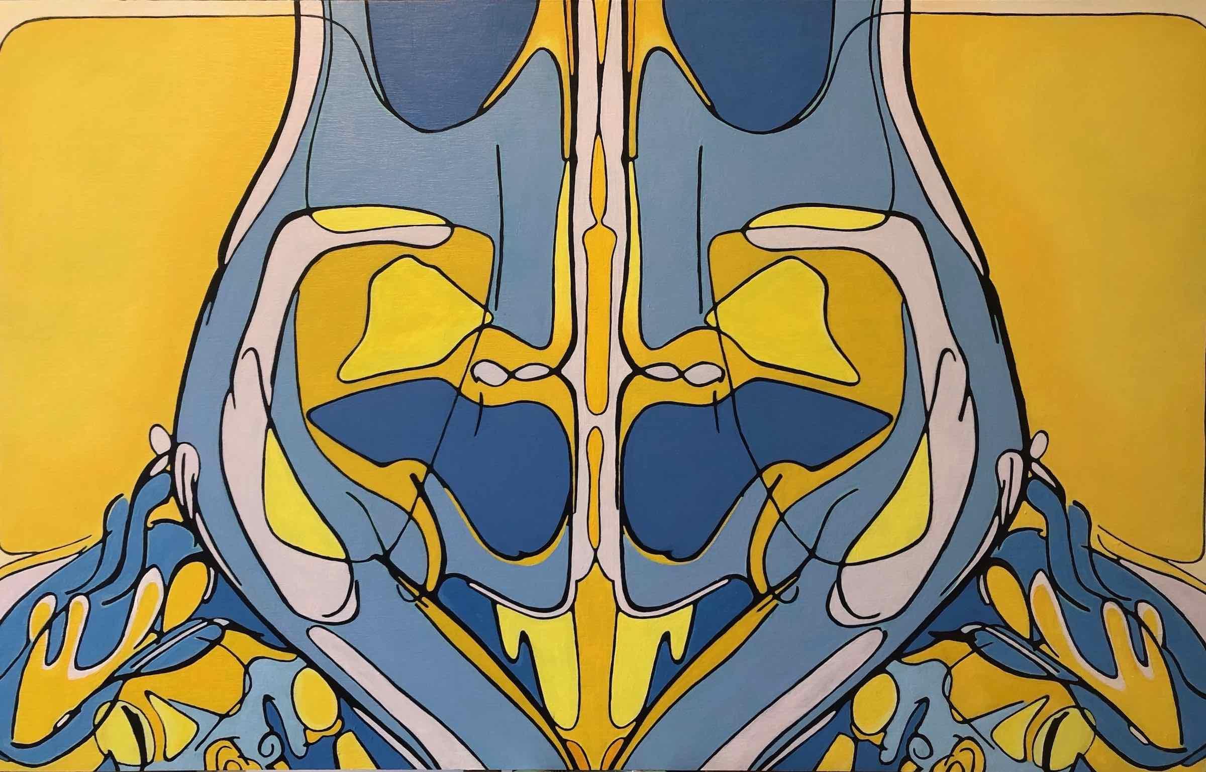 sanderson acrylic painting abstract torso reflection Iris
