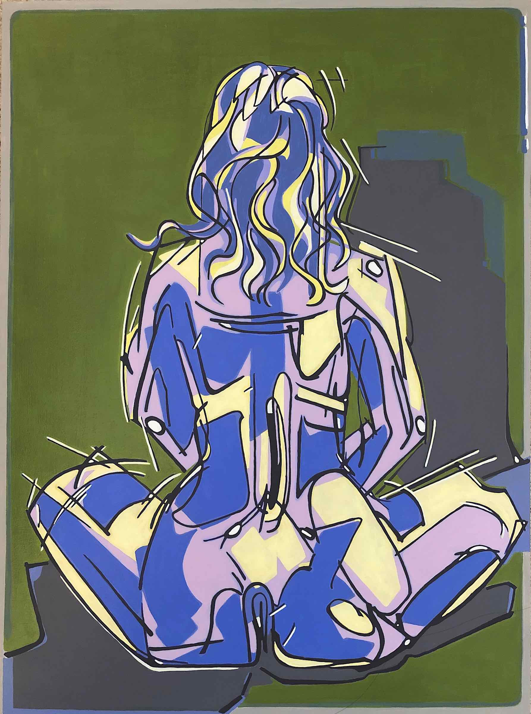 sanderson acrylic painting seated figure Pyramid Scheme
