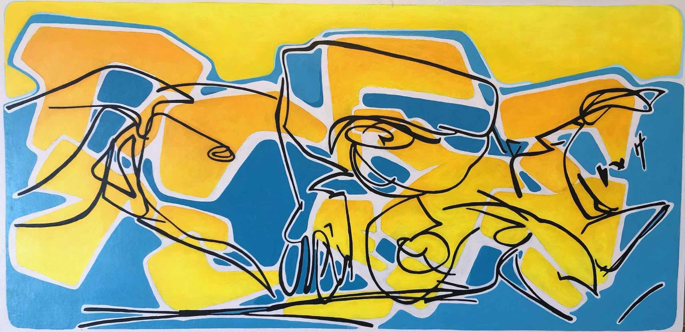 sanderson acrylic painting grafitti figure Rose